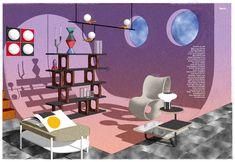 Series of fictional interiors.