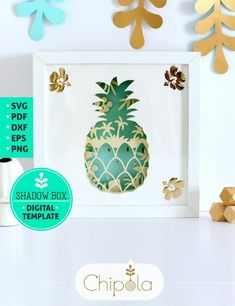 Pineapple Shadow Box SVG, 3d papercut SVG, layered paper art template, scroll saw pattern, vector tropical layered art with LED light