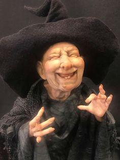 Sculpting and Costuming a Polymer Clay Course with Karen Baker Halloween Doll, Fall Halloween, Ooak Dolls, Art Dolls, Dracula, Karen Baker, Spirit Ghost, Witch Face, Fairy Figurines