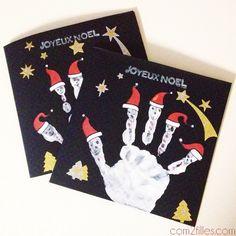 Voici le pas à pas pour que vos enfants puissent reproduire cette carte destinée au père noël : Empreinte de main, bonnets rouges, stickers, tampons !