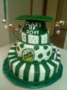 Graduation cake, topsy-turvy.