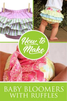 Baby Bloomers Pattern, Diaper Cover Pattern, Ruffle Diaper Covers, Ruffle Bloomers, Sewing Baby Clothes, Baby Clothes Patterns, Baby Patterns, Dress Patterns, Sewing Pants