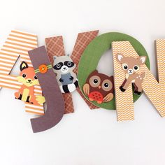 Items similar to Woodland Creature Custom Decorated Wooden Letters, Nursery Name Décor, Boy Bedroom, Hanging Wood Wall Decorations, Baby Shower Gift Forest on Etsy Baby Name Letters, Nursery Letters, Wood Letters, Woodland Theme, Woodland Baby, Woodland Nursery, Nursery Name Decor, Nursery Themes, Nursery Ideas