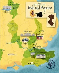 Pride and Prejudice interactive map. You can follow their journeys (literally) with a visual