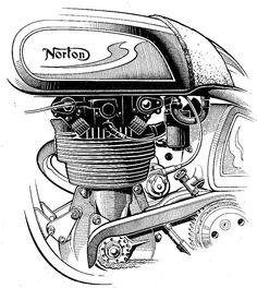 Norton Bike, Norton Motorcycle, Motorcycle Engine, Motorcycle Art, Bike Art, Cycling Art, Cycling Quotes, Cycling Jerseys, Motorbike Parts