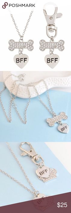 """Silver paw necklace and matching collar chain Treasure your best friend by having matching tags!  A love paw necklace for you and a collar keychain for your best friend. Hand crafted with zinc alloy material. 17.5 """" chain length and 20 mm charm. Jewelry Necklaces"""