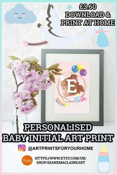 Personalised Baby Girl Initial Nursery Print - Print at home - Baby Gift £3.60 Print at home. #babygift #babynursery #babyname #babyinitial #nursery #nurserydecor #homedecor #homedesign #printathome #artprint #babyartprint #kidsart Nursery Prints, Nursery Decor, Personalised Baby, Print Print, Baby Names, Art Girl, Art For Kids, Baby Gifts, My Design