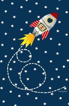 Dash retro rocket Art Print by blossyfloss Space Party, Space Theme, Retro Rocket, Space Illustration, 1st Boy Birthday, Creative Kids, Framed Art Prints, Art For Kids, Kids Bedroom