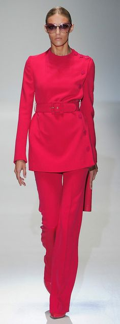 Monochromatic...bright coral pink women's asymmetrical button pant suit