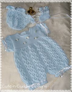Knitting pattern for a romper , hat and bootees