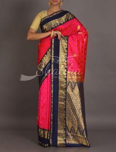 Revati Dual Shade Self-Weave Golden Motifs Contrast Border Pallu Kanjeevaram Silk Saree