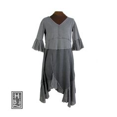They don't all live in the sea, but the rock-dwelling mermaids are even hard to find.    Gray reconstructed cotton dress with funky split asymmetric hem bedecked in full panels of gray cotton gauze. It has a v-neck, flattering arched waist seam, and fu