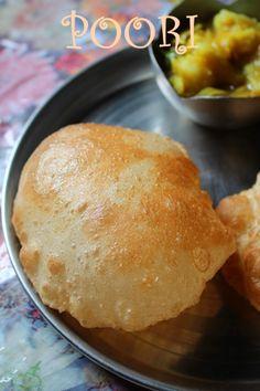 Indian Bread Recipes, Tiffin Recipe, Indian Flat Bread, Puri Recipes, Potato Curry, Complete Recipe, Appetizer Recipes, Appetizers, Recipe Collection