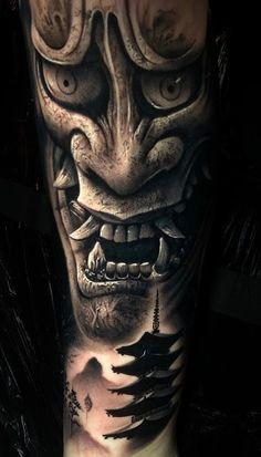 Lion Tattoo Sleeves, Dragon Sleeve Tattoos, Leg Tattoos, Body Art Tattoos, Asian Tattoos, Foo Dog Tattoo Design, Japan Tattoo Design, Hannya Mask Tattoo, Hanya Tattoo