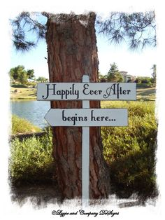 HaPPiLy EVeR AfTeR SiGn - HaPPiLY EVeR AfTeR BeGiNs HeRe - DiReCTioNaL WeDDiNg SiGnS - Fairy Tale Style Lettering - 4ft Stake - WHITE. $54.95, via Etsy.