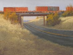 """Watching Trains Pass By by Jeri Salter Pastel ~ 16"""" x 20"""""""