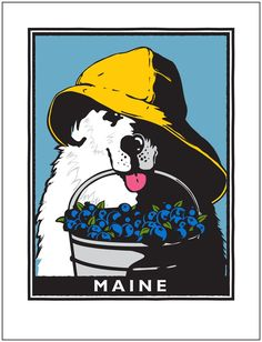 Image of Sea Dog Maine Blueberries • Signed, Giclee Print