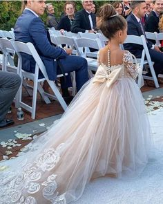 Princess Jewel Long Sleeves Sweep Train Lace Tulle Flower Girl Dresses with Bowk. Princess Jewel Long Sleeves Sweep Train Lace Tulle Flower Girl Dresses with Bowknot Pretty Wedding Dresses, Wedding Dress Trends, Bridal Dresses, Wedding Gowns, Flowergirl Dress, Elegant Dresses, Sexy Dresses, Summer Dresses, Wedding Ideas