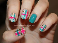 rebecca likes nails: glad in plaid!  -uses painted tape to form the plaid