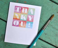 Thank you card Watercolor Typography   Set of 10 by paperitta, $36.00