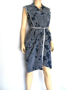 Navy Frills Draped Shirt Dress  One of a Kind  Size by OUTLYING, $128.00