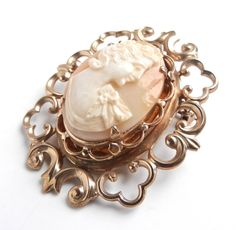 Vintage Cameo Brooch , Gold Tone Hand Carved Shell by MaejeanVINTAGE, $35.00    #cameo #Victorian #filigree #pin