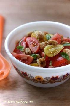 トマトとクルトンのガーリック風味サラダ|レシピブログ
