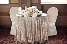 CHOOSE YOUR SIZE! Champagne Sequin Tablecloth for vintage Wedding and Events…