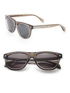 Alexander McQueen Ghost Skull 53MM Rectangle Sunglasses - Havana