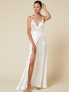Alexandria satin wrap maxi dress white at Reformation