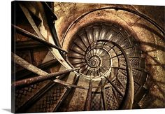 Old Spiral Stairwell in Paris, France Photo Canvas Print | Great Big Canvas