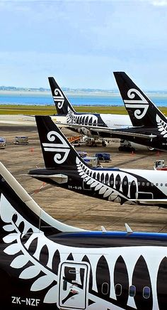 Travel Inspiration for New Zealand - Air New Zealand aircraft tails, Auckland International Airport Air New Zealand, New Zealand Houses, New Zealand Travel, New Zealand Rugby, Auckland, Kiwiana, Australia, Nose Art, To Infinity And Beyond