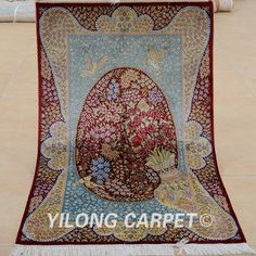 Yilong 3x46 Antique silk carpet traditional exquisite oriental