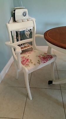 LARGE SHABBY CHIC TABLE AND 6 CHAIRS IN LAURA ASHLEY WHITE & ROSES Ashley White, Laura Ashley, Shabby Chic Furniture, White Roses, Stool, Chairs, Amp, Table, Home Decor