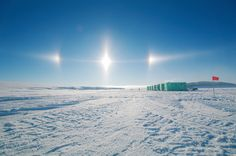Sundogs are a refractive effect during very cold temperatures whereby ice crystals in the air form residual bright spots in a halo around the sun. Photo taken by Craig Stevens off the Erebus Glacier Tongue in Natural Philosophy, Sun Dogs, Fire Rainbow, Natural Phenomena, Out Of This World, Looking Up, Mind Blown, Science And Technology, Cool Photos