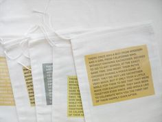 Invitation fabric transfers ironed onto muslin bags for wedding invites - Clever
