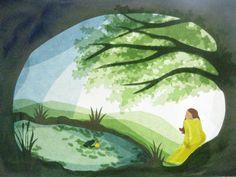 Handgemachte Foto-Grußkarte mit Umschlag. Foto ist von einer ursprünglichen Fensterbild der Märchen Der Froschkönig. Das beigefügte Foto zeigt nur das Design, das auf Weiß / Elfenbein Karte...