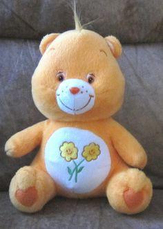 "Sitting Orange FRIEND CARE BEAR Soft Plush Stuffed TOY 10"" Flowers Character #CareBear #FriendBear #OrangeCareBear"