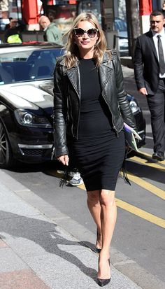Kate Moss // LBD, heels, leather jacket and sunglasses