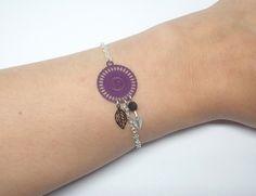 Bracelet rosace feuilles violet noir argenté estampes