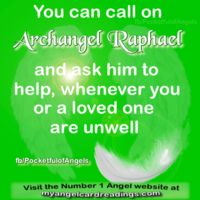 """∆ Archangel Raphael...Name meaning: """"Healing power of God"""" Raphael is a very powerful healer and assists with all forms of healing - humans and animals. He helps to rapidly heal body, mind and spirit. He's very sweet, loving, kind and gentle. He is also the Archangel in charge of travel, and you can call upon him for protection and safety before embarking on any journey. Crystal affinity: Malachite."""