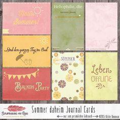 Digitale Downloads - Sommer daheim Scrapbook 4x6 Journaling Karten - ein Designerstück von Rikki_Donovan bei DaWanda