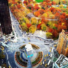 Central Park in fall colors & Columbus Circle at West 59th Street, NY, NY