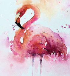 print of flamingo, handmade gift, pink wall art, unframed, animal theme, nursery painting, animal art, pink bedroom decor, watercolor print, #flamingo #watercolorarts