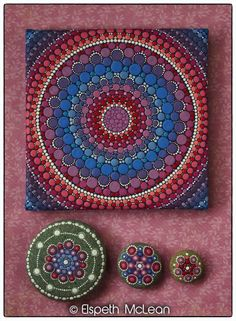 A collection of Elspeth McLean Mandala artwork #mandala #heartchakra #meditation #fineart #elspethmclean #rockart