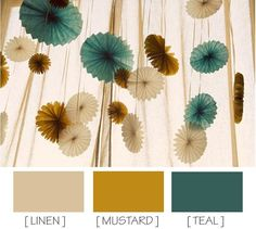 linen, mustard, teal