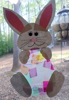 Bunny Holding an Easter Egg Suncatcher (Cute kids craft idea) - Crafty Morning