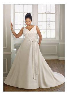 Elegant Satin A-line V-neck Plus Size Bridal Gowns With Handmade Flower W2061 Plus Size Wedding Dress