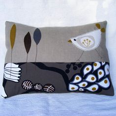 Patchwork cushion with appilque