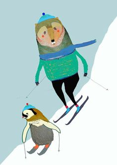Skiing Penguin and Bear. Illustration wall Art by AshleyPercival